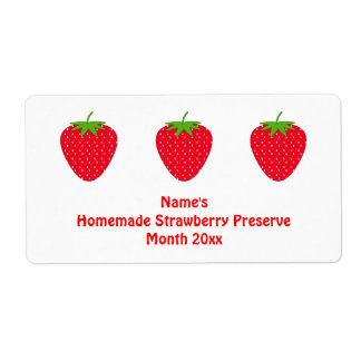 Homemade Strawberry Preserve Label. White and Red. Shipping Label