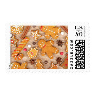 Homemade Various Christmas Gingerbread Cookies Postage