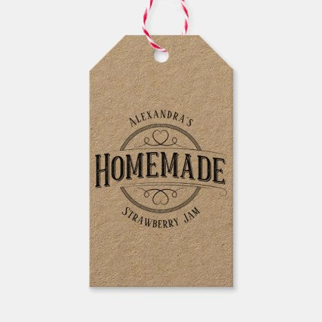 Homemade Vintage Personalized Label Gift Tags