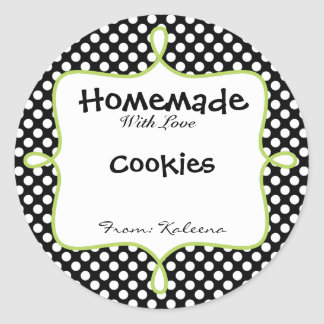Homemade With Love Black&Green Polka Dot Classic Round Sticker