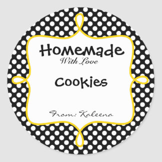Homemade With Love Black&Yellow Polka Dot Classic Round Sticker