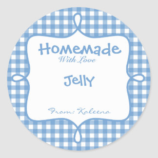 Homemade With Love Blue Gingham Classic Round Sticker