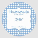 Homemade With Love Blue Gingham Stickers