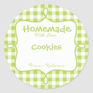 Homemade With Love Green Gingham Classic Round Sticker
