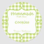 Homemade With Love Green Gingham Round Stickers