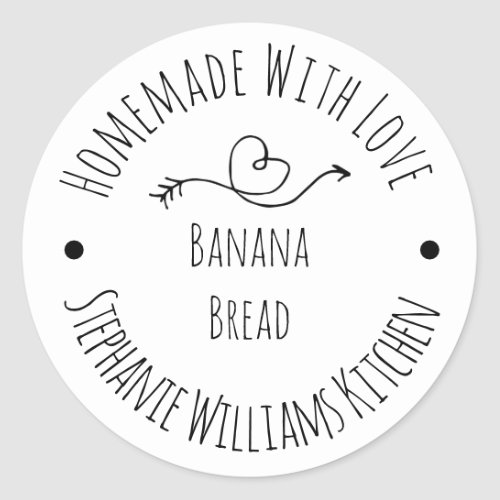Homemade with Love Heart and Arrow    Baked Goods Classic Round Sticker