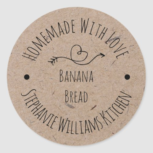 Homemade with Love Kraft Paper   Baked Goods Classic Round Sticker