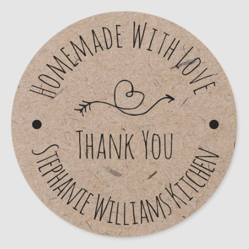 Homemade with Love  Kraft Paper Thank You Classic Round Sticker