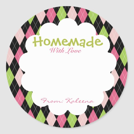 Homemade With Love Lime&Pink Argyle Classic Round Sticker