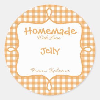 Homemade With Love Orange Gingham Classic Round Sticker