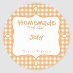 Homemade With Love Orange Gingham Round Stickers