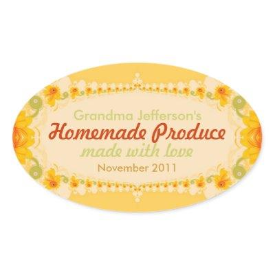 Homemade with Love Oval Label Sticker zazzle_sticker