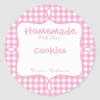 Homemade With Love Pink Gingham Classic Round Sticker