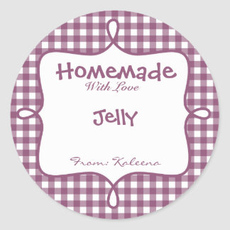 Homemade With Love Purple Gingham Classic Round Sticker
