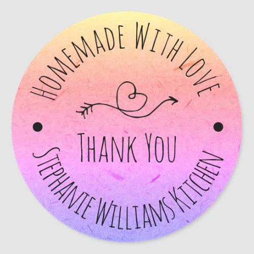 Homemade with Love  Rainbow Kraft Paper Thank You Classic Round Sticker