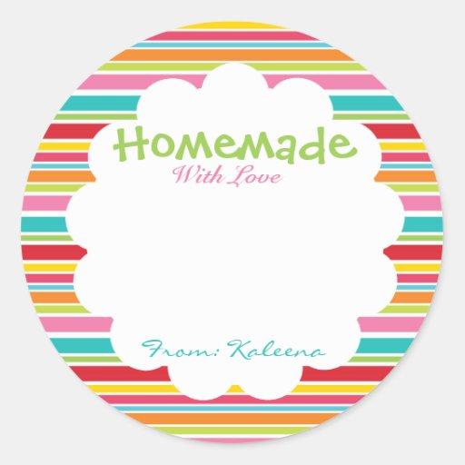 Homemade With Love Rainbow Round Stickers
