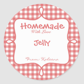 Homemade With Love Red Gingham Classic Round Sticker