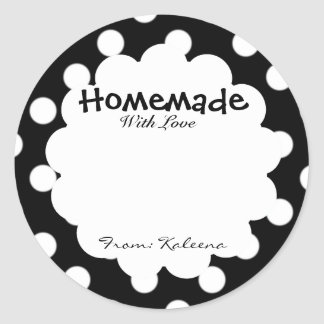Homemade With Love Retro Polka Dot Classic Round Sticker