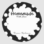 Homemade With Love Retro Polka Dot Round Sticker