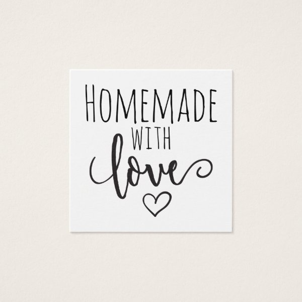Homemade with love square business card