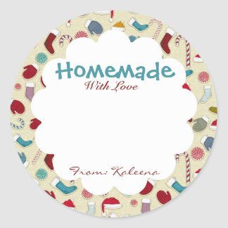 Homemade With Love Winter Themed Classic Round Sticker