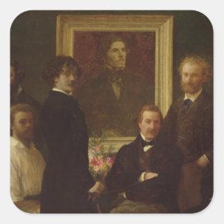 Homenaje a Delacroix, 1864 Calcomanía Cuadradas Personalizada