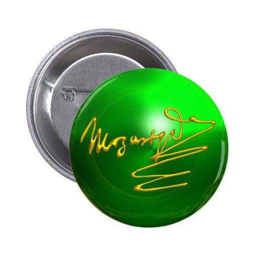 HOMENAJE A MOZART, verde esmeralda Pin Redondo De 2 Pulgadas