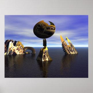 homenaje del arte del fractal 3D a Miro Póster