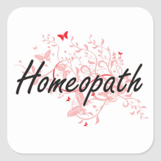 Homeopath Artistic Job Design with Butterflies Square Sticker