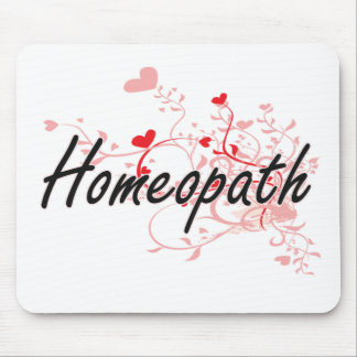 Homeopath Artistic Job Design with Hearts Mouse Pad