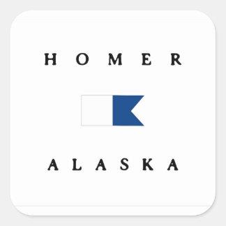 Homer Alaska Alpha Dive Flag Square Sticker