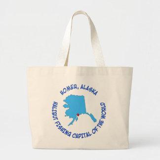 Homer, Alaska Halibut Fishing Capital of the World Large Tote Bag