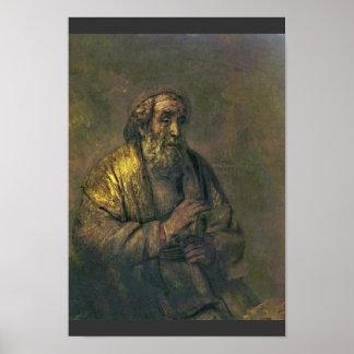Homer. By Rembrandt Van Rijn  (Best Quality) Poster