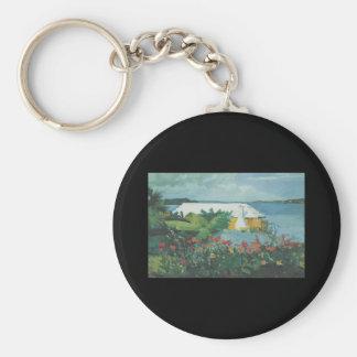 Homer Flower Garden and Bungalow Keychain