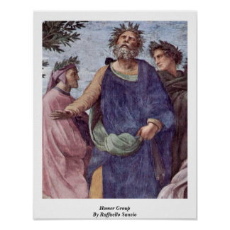 Homer Group By Raffaello Sanzio Poster