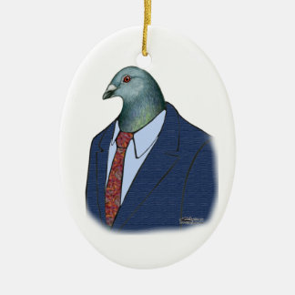 Homer Suit Double-Sided Oval Ceramic Christmas Ornament