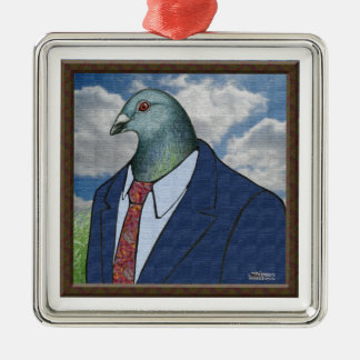 Homer Suit Framed Square Metal Christmas Ornament