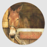 Homer the Mule Round Stickers