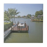 Homes and docks on canal Marco Island Florida Ceramic Tile