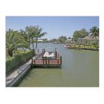 Homes and docks on canal Marco Island Florida Postcard