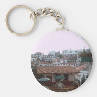 Homes and restaurants in Taxco Basic Round Button Keychain