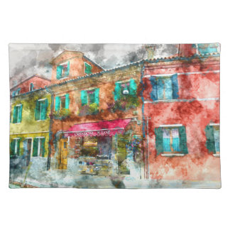 Homes in Burano Italy near Venice Cloth Placemat