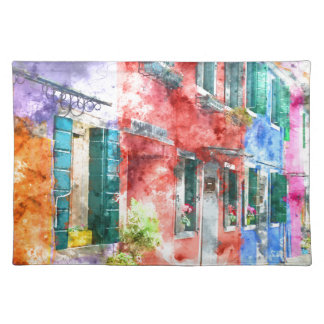 Homes in Burano Italy near Venice Placemat