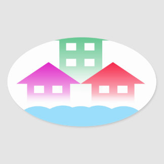 homes with cloud oval sticker
