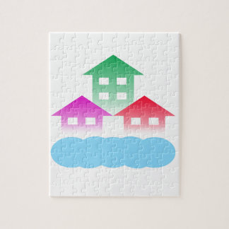 homes with cloud jigsaw puzzle