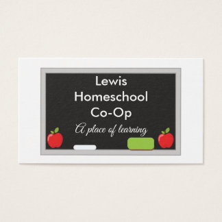 Homeschool Co-Op Chalkboard with apples Business Card