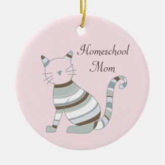 Homeschool Mom Cat Theme Ceramic Ornament