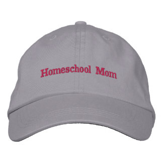 Homeschool Mom Gray and Pink Embroidered Baseball Hat