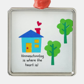 Homeschooling is where the heart is! metal ornament