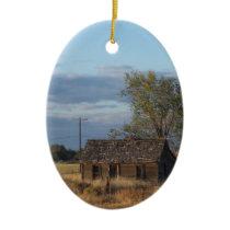Homestead Cabin Ceramic Ornament